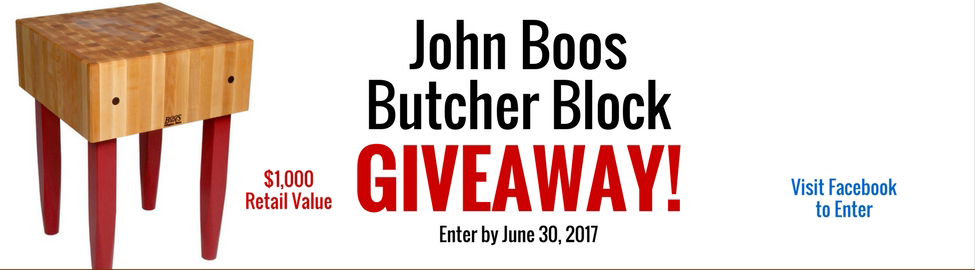 Enter our John Boos Standing Butcher Block Giveaway!
