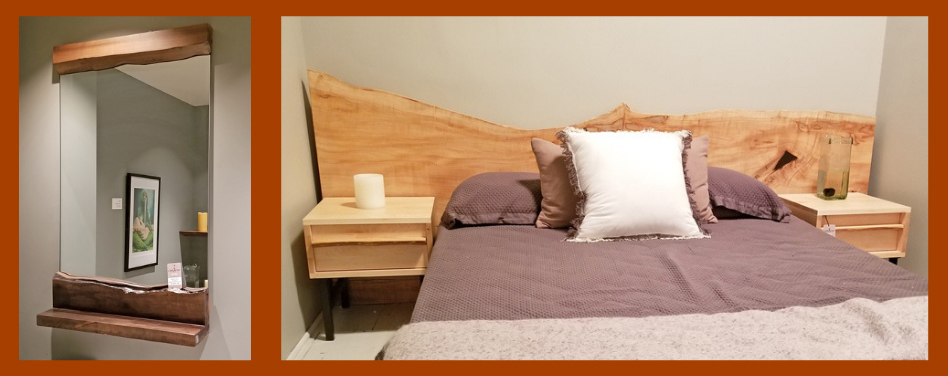 created hardwood headboard