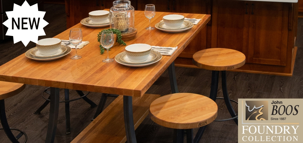 John Boos Introduces Foundry Collection Dining Table Sets