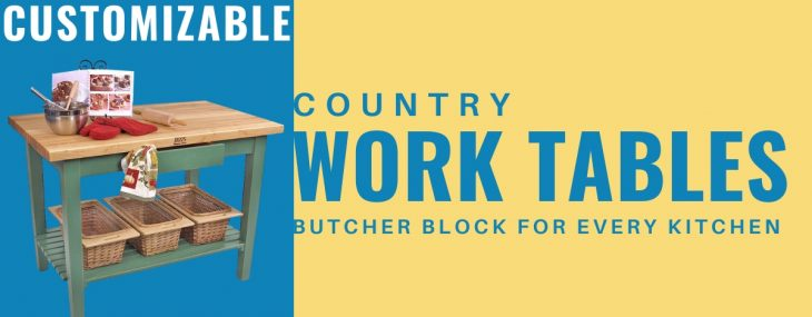 Customizable Country Work Table Fits Every Kitchen!
