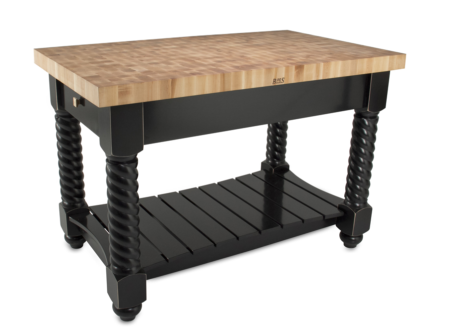 John Boos Kitchen Island with butcher block top