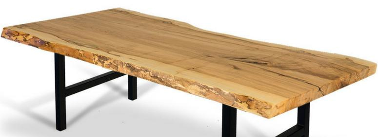 live edge wood slab table top on metal base